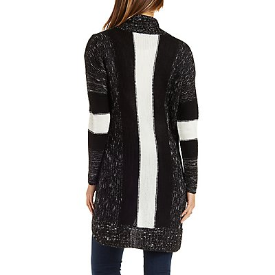 Marled Cocoon Cardigan with Color Block Sleeves