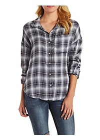 Oversized Plaid Button-Up Top