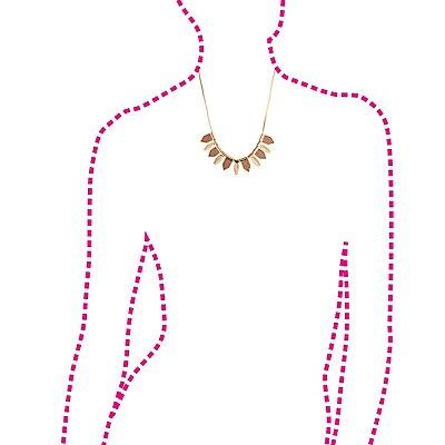 Glitter Chevron & Feather Collar Necklace