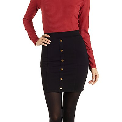 Button-Up Bodycon Mini Skirt