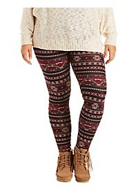 Plus Size Aztec Print Leggings