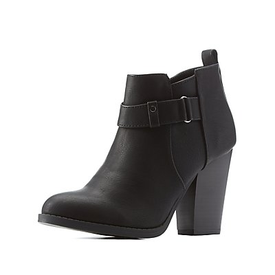Belted Chunky Heel Ankle Booties