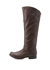 Qupid Knee High Boots with Curved Zipper