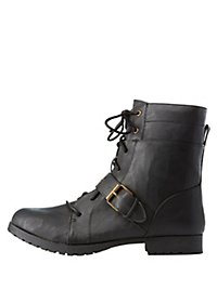 Qupid Lace-Up Combat Boots