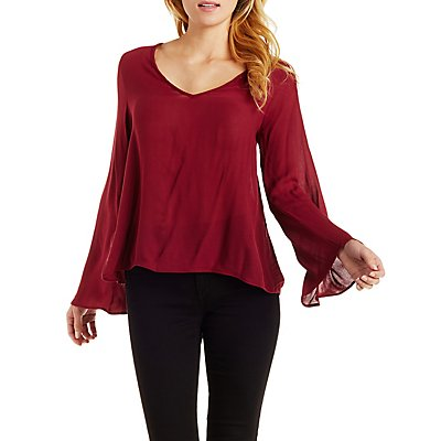 Lace-Up Back Bell Sleeve Top