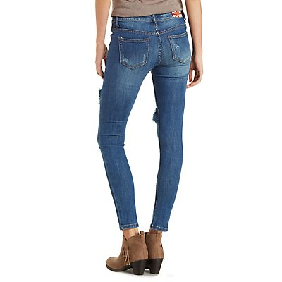 Machine Jeans Dark Wash Destroyed Skinny Jeans