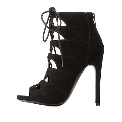 Peep Toe Cut-Out Lace-Up Heels