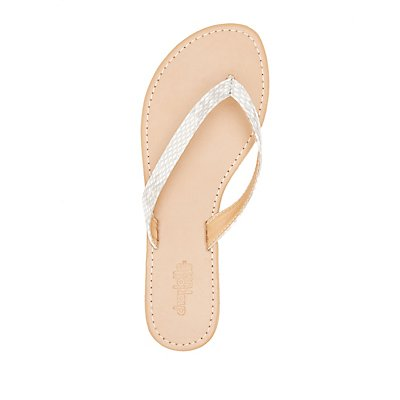 Faux Snakeskin Thong Sandals