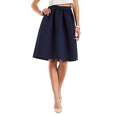 Pleated Scuba Full Midi Skirt
