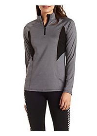 Half-Zip Long Sleeve Active Top with Mesh Panels