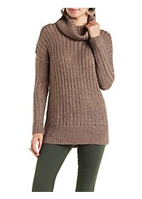 Textured Cowl Neck Tunic Sweater