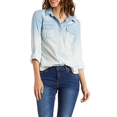 Ombre Chambray Button-Up Top