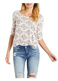 Printed Zip Pocket Top with Roll-Up Sleeves