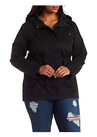 Plus Size Drawstring Hooded Anorak Jacket