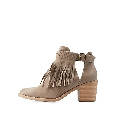 Qupid Belted Fringe Cut-Out Chunky Heel Booties