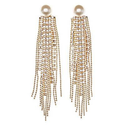 Pearl Bead and Chain Tassel Drop Earrings