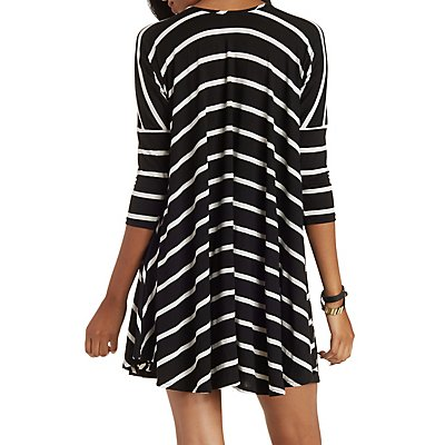 Striped Dropped Shoulder Trapeze Shift Dress