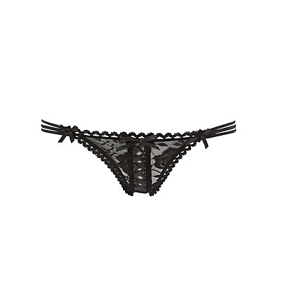 Strappy Corset-Laced Thong Panties