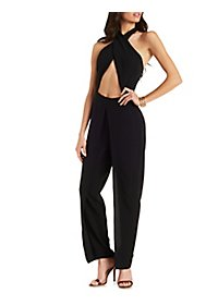 Crossover Halter Wrap Jumpsuit