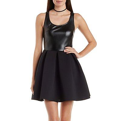 Faux Leather & Scuba Knit Sleeveless Skater Dress