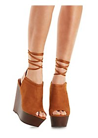Lace-Up Wooden Platform Wedges