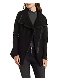 Faux Leather Piped Quilted Sleeve Moto Coat
