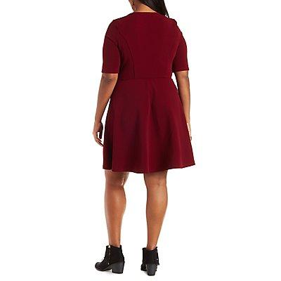 Plus Size Lace-Up Skater Dress
