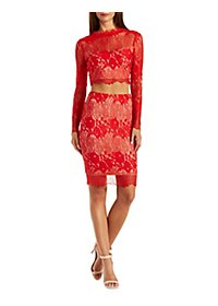A.Peach Two-Piece Lace Midi Hook-Up