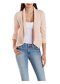Ruched Sleeve Textured Blazer with Pointed Hems