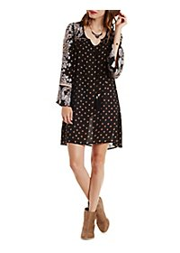 Long Sleeve Boho Print Shift Dress