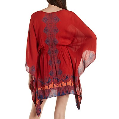 Kimono Sleeve Boho Print Shift Dress
