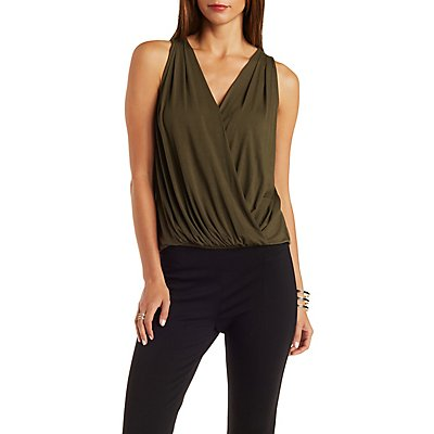 Pleated Wrap Tank Top