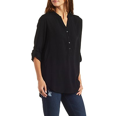 Button-Up Tunic Top