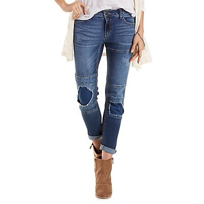 Cello Patched Slim Boyfriend Jeans