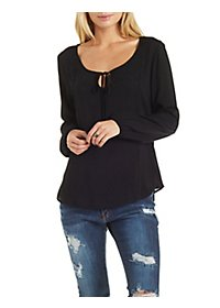 Tie-Neck Lace-Trim Long Sleeve Top
