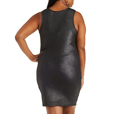 Plus Size Metallic Sleeveless Dress with Cut-Outs