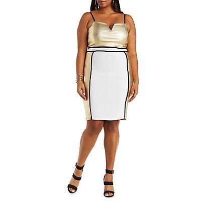 Plus Size Metallic Color Block Bodycon Dress