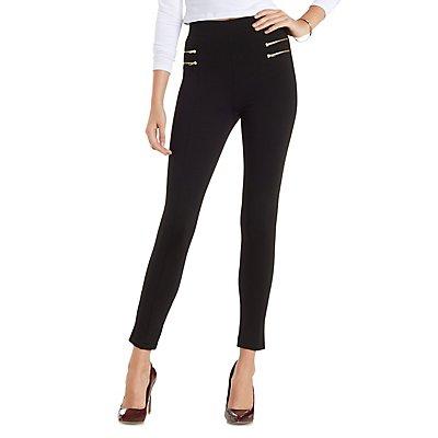 Zipper-Trim High-Waisted Skinny Pants
