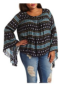 Plus Size Gauzy Boho Print Bell Sleeve Top