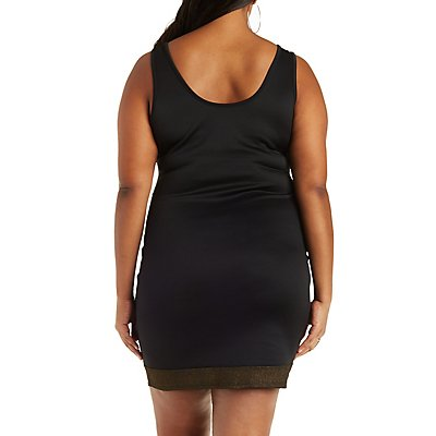 Plus Size Scuba Knit Dress with Metallic Accents