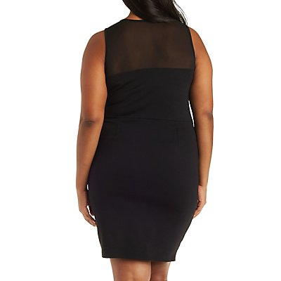Plus Size Mesh Yoke Bodycon Dress
