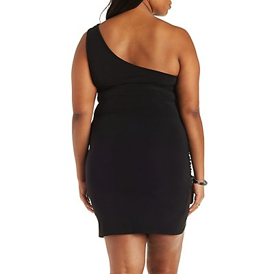 Plus Size One Shoulder Ruched Tube Dress