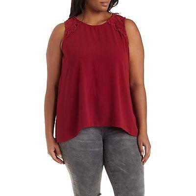 Plus Size Cinched-Back Crochet-Trim Tank Top