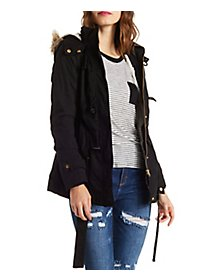 Belted Fleece-Lined Anorak with Faux Fur Hood