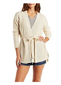 Belted Ribbed Cardigan Sweater