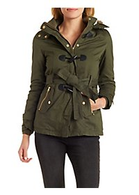 Faux Fur-Trim Hooded Anorak Coat