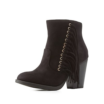 Fringed Stacked Heel Round Toe Boots