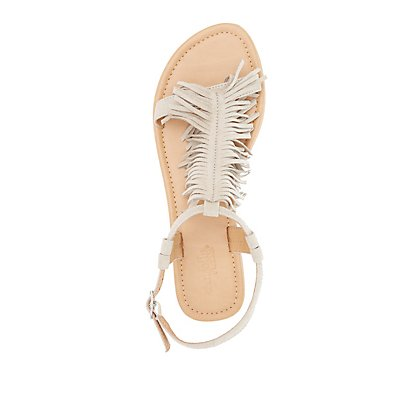 Fringed T-Strap Sandals
