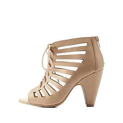 Laser-Cut Caged Lace-Up Heels