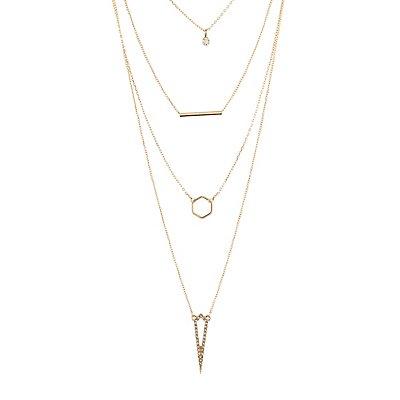 Layered Geometric Rhinestone Necklace